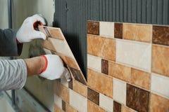 Laying Ceramic Tiles. Royalty Free Stock Images