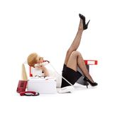Laying chatting businesswoman Stock Photos