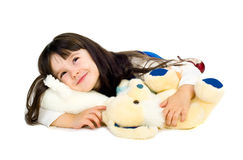 Laying Child Girl Cute Beauty Portrait. Royalty Free Stock Photography