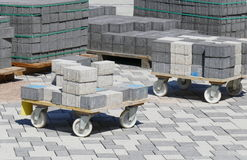 Laying of concrete pavement Stock Photos