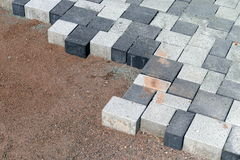 Laying of Concrete pavers Stock Image