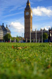 Laying down at Big Ben. A great autumn day in London with a gifted weather Stock Images
