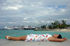 Laying Down On A Pier Stock Photos