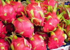 Laying Dragon fruit in the tray store. royalty free stock photo