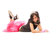 Laying emo girl. Beautiful emo girl laying on floor over white royalty free stock images