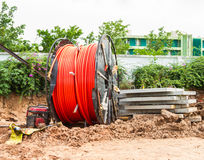 Laying of fiber optic cable Royalty Free Stock Images