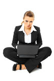 Laying on floor business woman using laptop Stock Photos