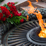 Laying flowers at the quenchless flame dedicated to victory Worl Stock Photos
