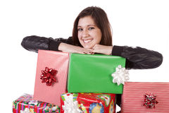 Laying on gifts Royalty Free Stock Images