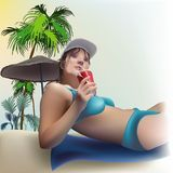Laying Girl. Girl On The Beach, Background Illustration, Vector Royalty Free Stock Photography