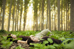 Laying girls Stock Photo