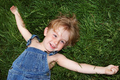 Laying in the grass Royalty Free Stock Photo