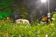 Laying in the grass. Part of a caravan , nightscene Stock Photos