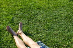 Laying on the green grass Royalty Free Stock Photos