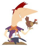 Laying hen and a farmer Stock Photography