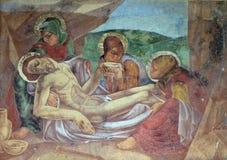 Laying Jesus in tomb. Headstone on Mirogoj cemetery in Zagreb, Croatia royalty free stock images