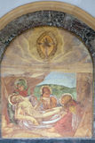 Laying Jesus in tomb. Headstone on Mirogoj cemetery in Zagreb, Croatia royalty free stock image