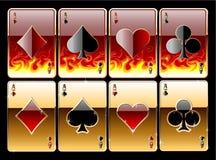 ?laying Karten im Feuer Lizenzfreies Stockfoto