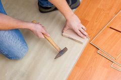 Laying laminate floor Stock Image