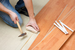 Laying laminate floor royalty free stock images
