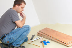 Laying laminate floor Stock Photo