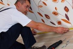Laying laminate flooring Stock Image