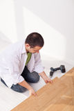 Laying laminate flooring - top view Royalty Free Stock Images