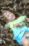 Laying in the Leaves Stock Image