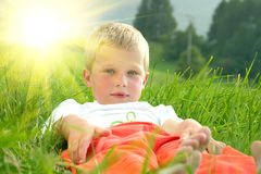 Laying little boy Royalty Free Stock Photo