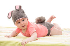 Laying little bunny baby girl Stock Images
