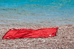 The laying lying on pebble beach Royalty Free Stock Photo