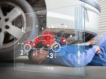 Laying mechanic consulting interface Stock Photos