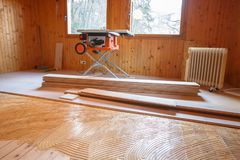 Laying of new parquet flooring in progress Stock Image