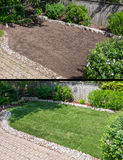 Before and After Laying New Sod in a Garden. Before and After Laying New Sod in a Backyard Garden royalty free stock images