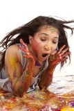 Laying in paint shocked Stock Images