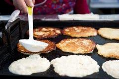 Laying Pancake Batter Stock Image