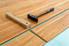 Laying of parquet floor Stock Photo