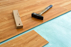 Laying of parquet floor Royalty Free Stock Photos