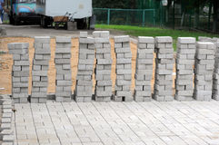 Laying paving in the Moscow court Stock Photography