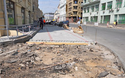 Laying paving in Moscow Stock Photos