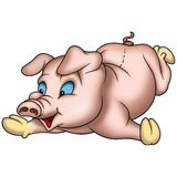 Laying Piggy. High detailed and coloured illustration Royalty Free Stock Photos