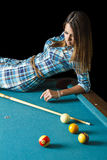 Laying on a pool table Royalty Free Stock Photography