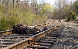 Laying on the Rails royalty free stock photos