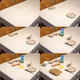 Laying the Table Sequence. A time lapse compilation of 6 photo's of laying a breakfast table for two Royalty Free Stock Images
