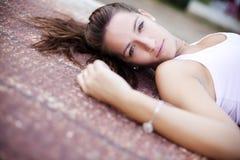 Laying woman Royalty Free Stock Photo