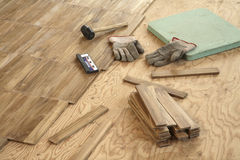 Laying wood flooring Royalty Free Stock Image