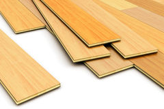 Laying of wooden laminated planks parquet floor Royalty Free Stock Photo