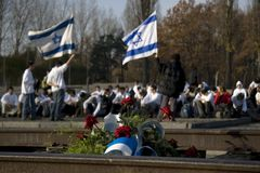 Laying of wreaths. Israelis,  former death camp, Auschwitz-Birkenau Royalty Free Stock Images