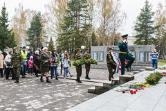 Laying of wreaths at the monument to fallen soldiers Stock Photography