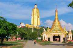 Laykyun Sekkya in Monywa, Myanmar. Bodhi Tataung Standing Buddha is the second tallest statue in the world. Monywa, Myanmar - October 8, 2016: Laykyun Sekkya in stock photography